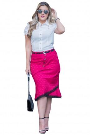 saia sino justa rosa pink e preta assimetrica rendada raje jeans frente