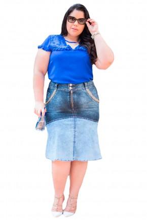 saia sino tradicional jeans escuro e claro bordado bolsos raje jeans frente