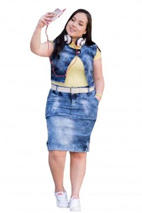 conjunto blusa amarela colete jeans saia jeans justa destroyed raje jeans frente