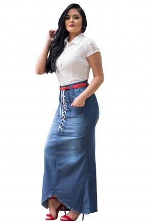 saia longa jeans assimetrica ilhos e amarracao frontais bolsos com cinto raje jeans frente