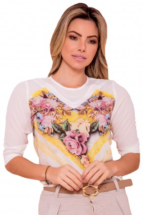 blusa offi white manga 3 4 estampa floral e geometrica rose e amarela via tolentino frente