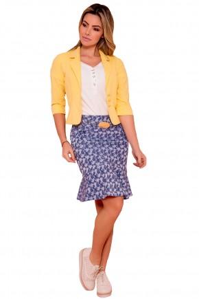 saia sino jeans estampa floral com pregas barra assimetrica via tolentino frente