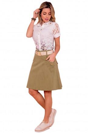 conjunto camisa branca estampa floral e animal print manga renda saia evase verde militar via tolentino frente