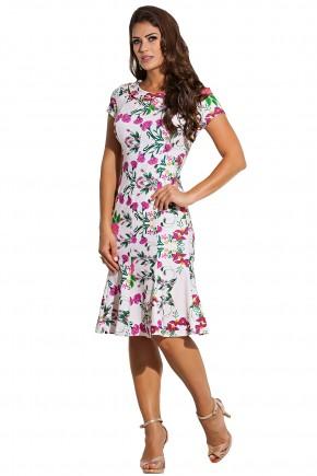 vestido bege estampa floral e folhagem decote amarracao e ilhos kauly frente