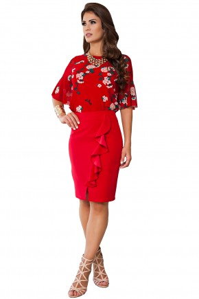 conjunto blusa tule vermelha escuro estampa floral saia alfaiataria vermelha justa babado e fenda frontal kauly frente