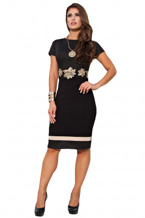 vestido preto justo tubinho estampa poa termocolante e bordado floral cintura kauly frente