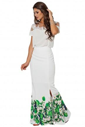 conjunto blusa off white tule e renda saia longa sereia branca estampa floral e folhagem fenda lateral kauly frente