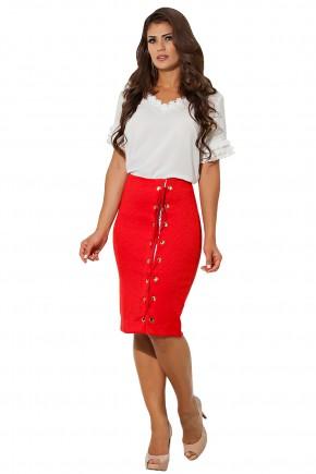 conjunto blusa off white babados manga gola rendada saia justa vermelha amarracao e ilhos frontal kauly frente