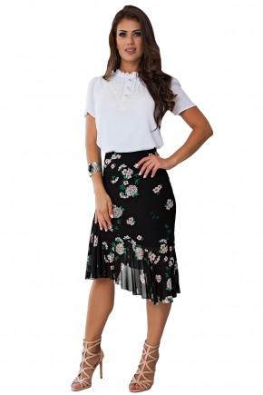 conjunto blusa branca gola alta botoes detalhe guipir saia sino midi assimetrica preta tule estampa floral kauly frente