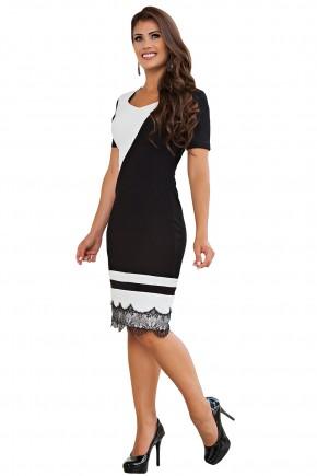 vestido justo tubinho preto e branco barra rendada recortes diagonais e horizontais kauly frente