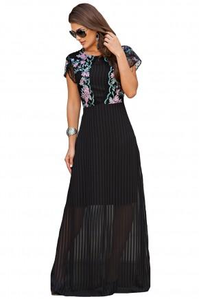 vestido longo preto bordado floral colorido busto transparencia barra com forro kauly frente