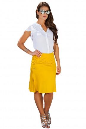 conjunto camisa branca gola bordada pedrarias saia amarela assimetrica bordado pedrarias kauly frente