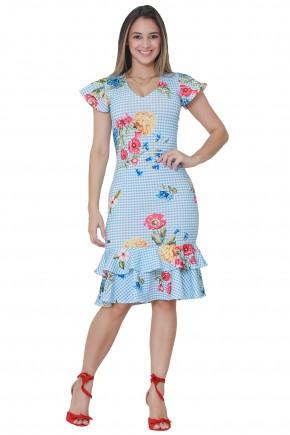 vestido sino babados xadrez branca e azul estampa floral manga curta babado tata martello frente