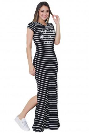 vestido longo preto estampa listras brancas e frase justo fenda lateral tata martello frente