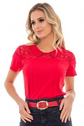 blusa vermelha dalhe pregas ombros rendados gola peter pan manga curta via tolentino frente