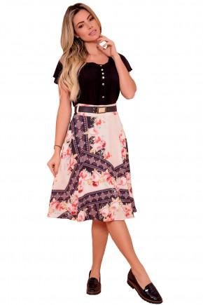 conjunto blusa preta pregas manga curta ampla botoes saia gode estampa floral e etnica via tolentino frente