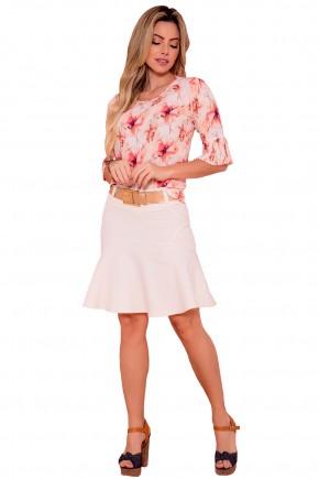 conjunto blusa estampa floral manga sino plissada saia saia sino off white via tolentino frente