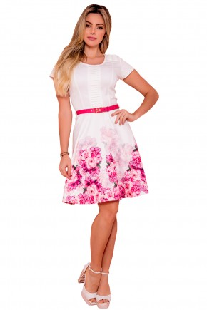 vestido evase branco estampa floral rosa pregas busto e ombros com cinto via tolentino frente