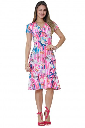 vestido sino rosa e azul estampa floral folhagem e listras decote v cruzado tata martello frente