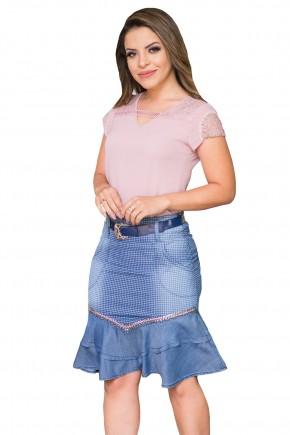 saia jeans estampa xadrex sino assimetrica babados bordada raje jeans frente