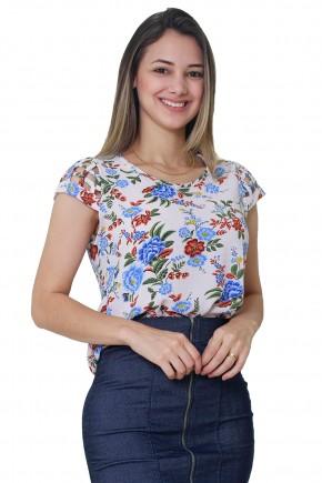 blusa off white estampa floral manga curta vazada tata martello frente