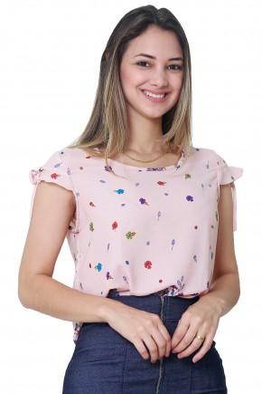 blusa rose estampa floral manga curta amarracao tata martello frente