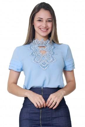 blusa azul manga curta nervuras decote vazado chocker renda bordado pedrarias tata martello frente
