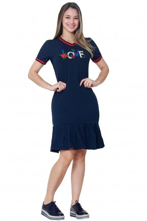 vestido azul escuro moda teen sino estampa frase bordado paetes detalhes vermelhos tata martello frente