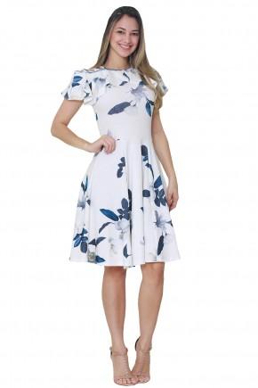 vestido evase off white estampa floral e folhagem decote e mangas babados detalhe vazado ombro tata martello frente