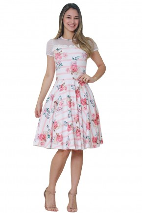 vestido gode off white estampa floral e listras rose decote ombros tule com poa e guipir tata martello frente