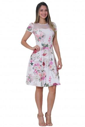 vestido evase off white estampa floral manga curta decote tule com poa tata martello frente