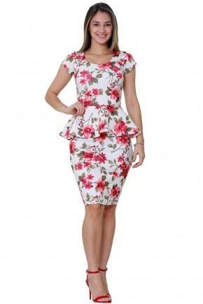 vestido off white estampa floral manga curta justo modelagem peplum tata martello frente