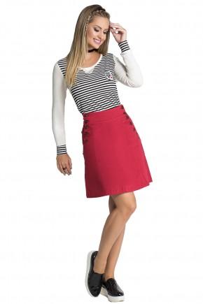 saia evase jeans collor vermelha botoes laterais e bordado coracao strass moda teen nitido frente