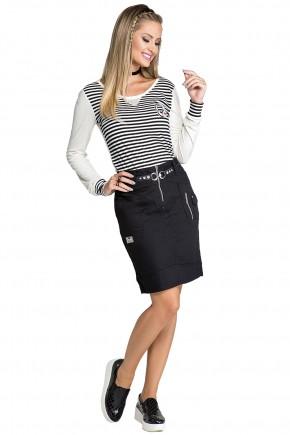 saia jeans preta justa ziper e bolsos frontais com cinto fivela diferenciada moda teen nitido frente