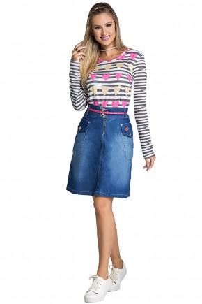 saia jeans evase ziper e bolsos frontais bordado boca strass com cinto rosa moda teen nitido frente