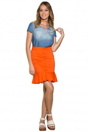 saia sino jeans collor laranja botoes frontais barra desfiada moda teen nitido frente