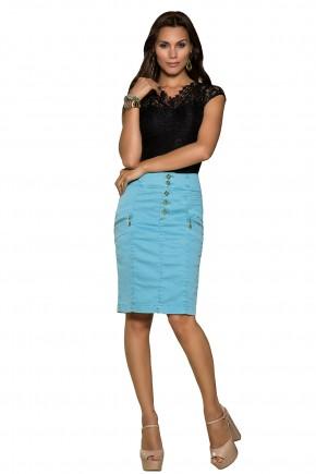 saia tradicional justa jeans collor azul claro detalhe nervuras ziper e botoes frontais nitido frente