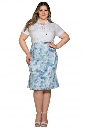 saia justa sino azul e off white estampa abstrata aplicacao guipir plus size nitido frente