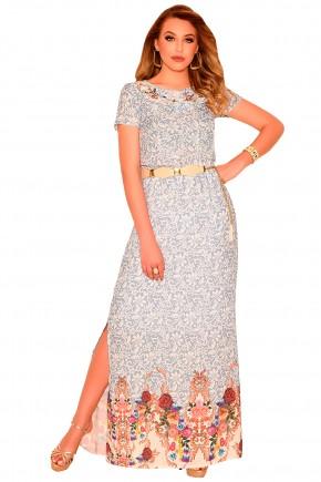 vestido longo bege e azul estampa floral e abstrata decote vazado bordado fenda lateral com cinto nitido frente