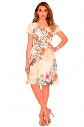 vestido evase bege estampa floral manga curta ampla nitido frente