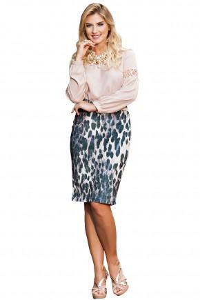 conjunto blusa bege manga longa entremeios saia justa veludo molhado estampa animal print kauly frente