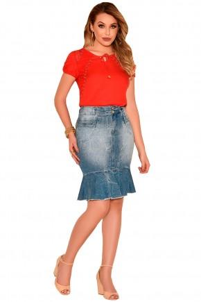 saia sino jeans craquelado barra desfiada nitido frente