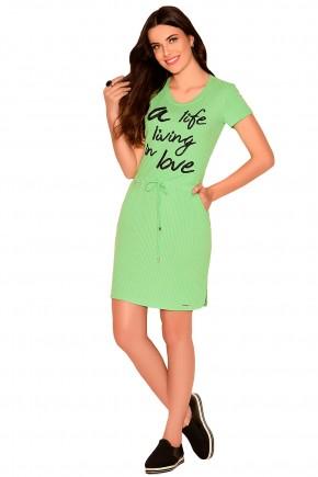 vestido justo verde limao canelado amarracao cintura estampa frase preta moda teen nitido frente