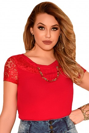 blusa vermelha manga curta rendada decote bordado pedrarias e nervuras nitido frente detalhe