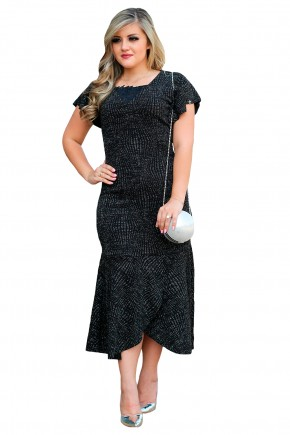 vestido preto brilhante sino assimetrico midi manga curta babado monia frente