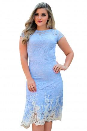 vestido azul celeste justo assimetrico sobreposicao renda barra guipir braco manga curta monia frente