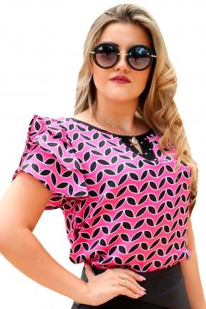 blusa rosa manga curta babados decote diferenciado bordado estampa geometrica preta e branca monia frente