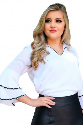blusa off white manga 3 5 ampla babados com guipir decote v gola monia frente