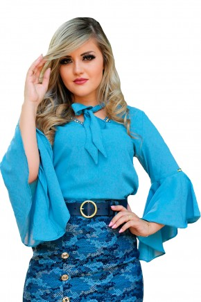 blusa azul manga longa sino decote bordado pedrarias gola laco monia frente