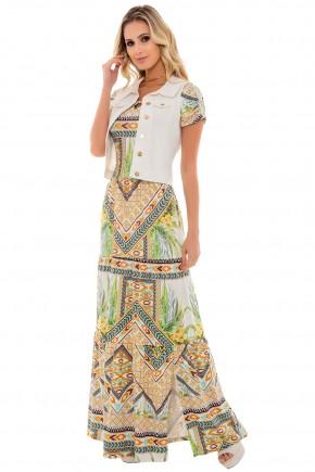 vestido longo estampa floral folhagem e abstrata fenda lateral com colete jeans branco via tolentino frente